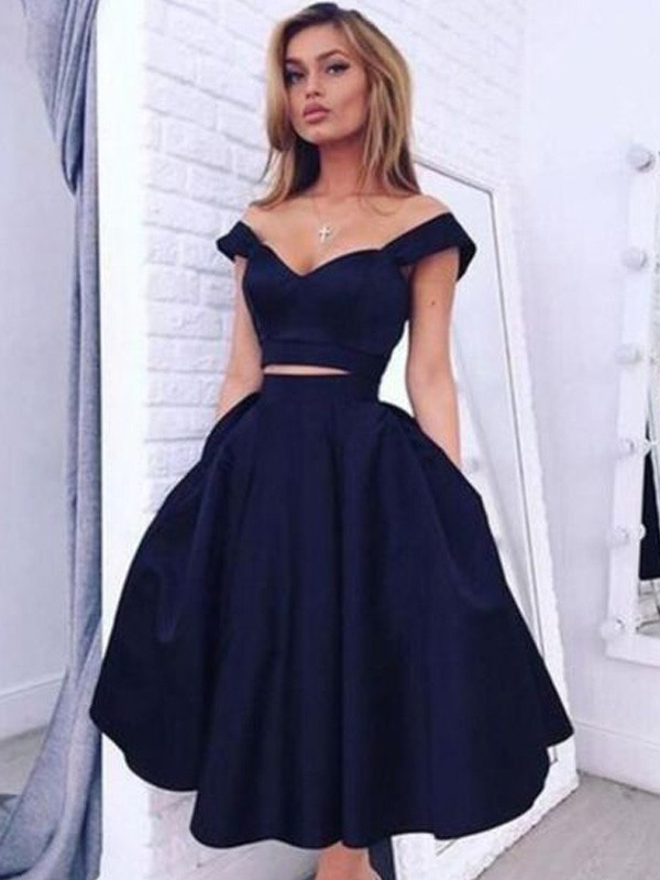A-Line/Princess Off-the-Shoulder Tea-Length Satin Two Piece Dress