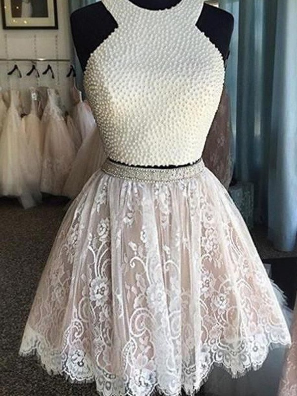 A-Line/Princess Halter Short Lace Two Piece Dress