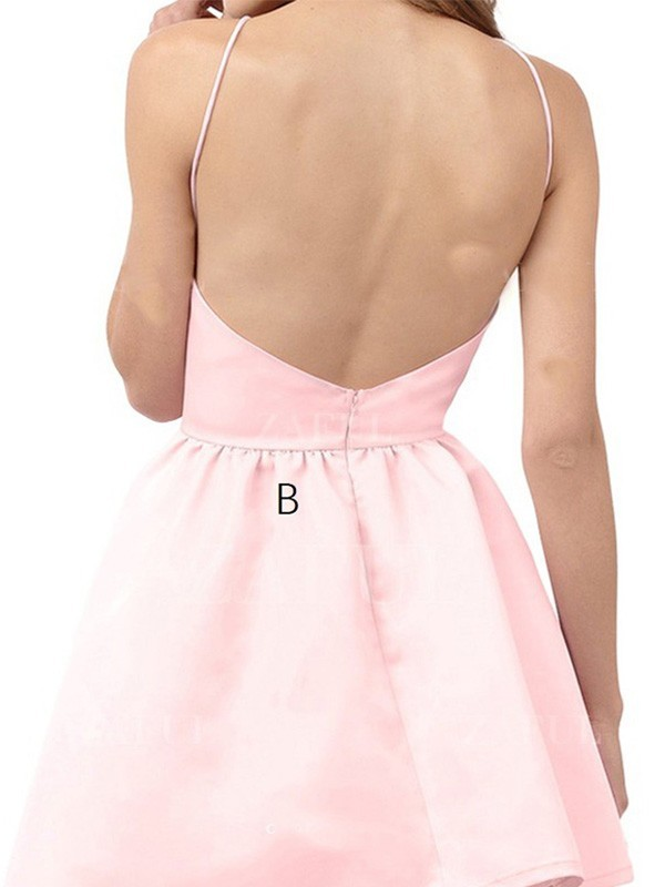 A-Line/Princess Halter Short Satin Dress