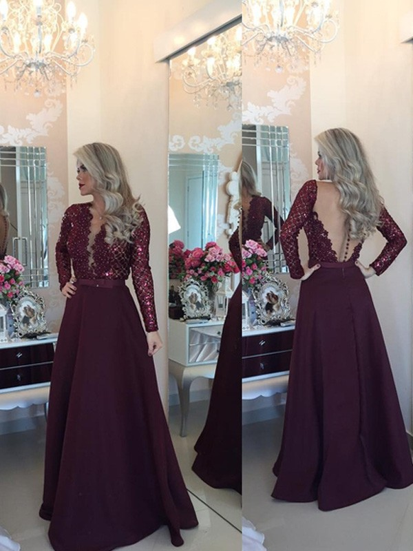 A-Line/Princess Scoop Long Sleeves Sequins Long Satin Dress