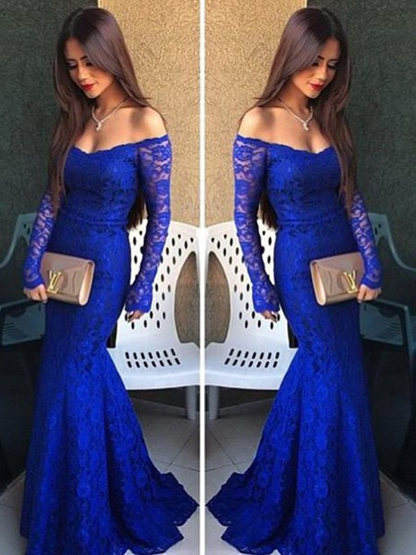 Mermaid Off-the-Shoulder Long Sleeves Lace Long Dress