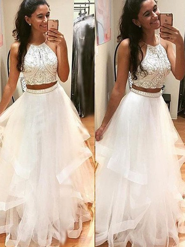A-Line/Princess Halter Long Tulle Dress