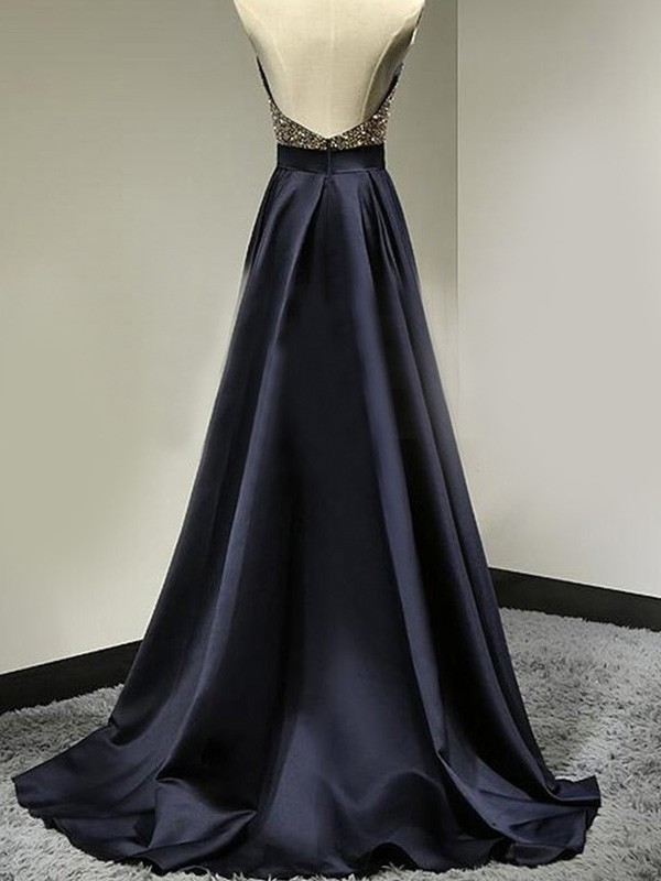 A-Line/Princess Halter Satin Long Dress