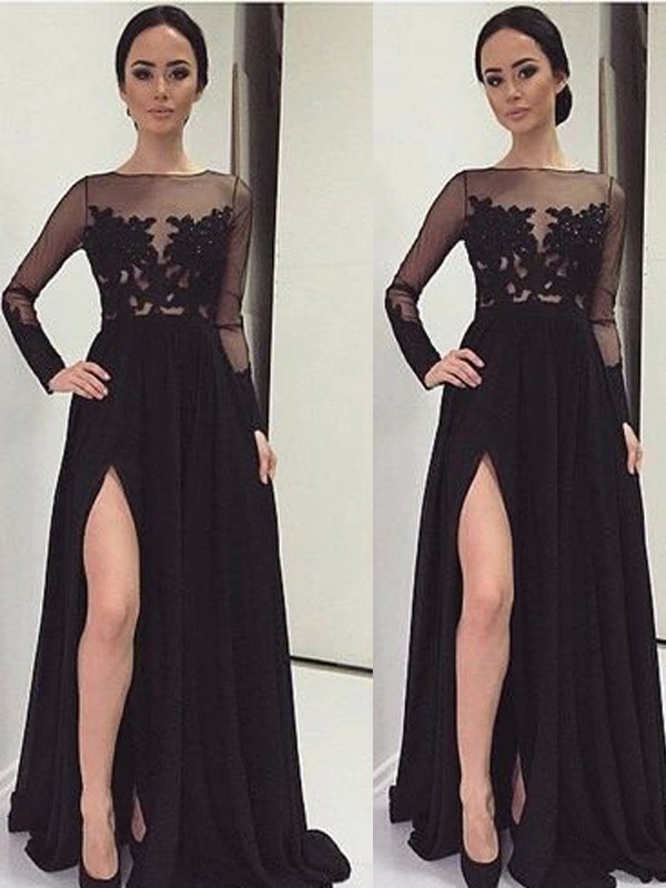 A-Line/Princess Bateau Long Sleeves Lace Long Chiffon Dress