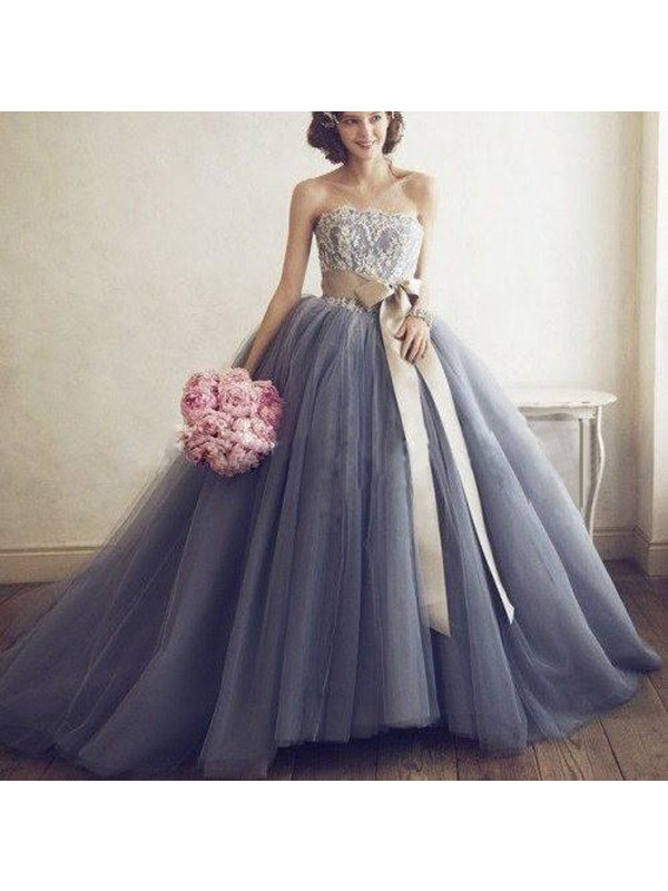 Ball Gown Sweetheart Tulle Long Dress