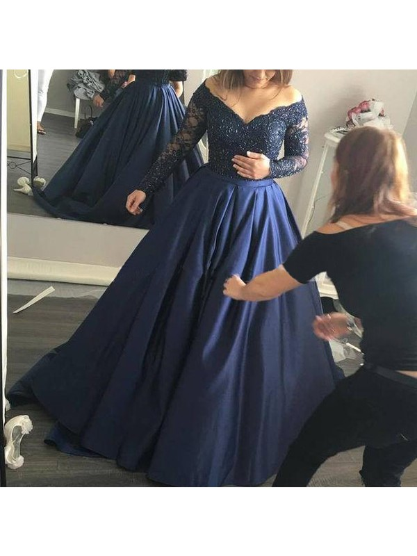 Ball Gown Off-the-Shoulder Long Sleeves Satin Long Dress