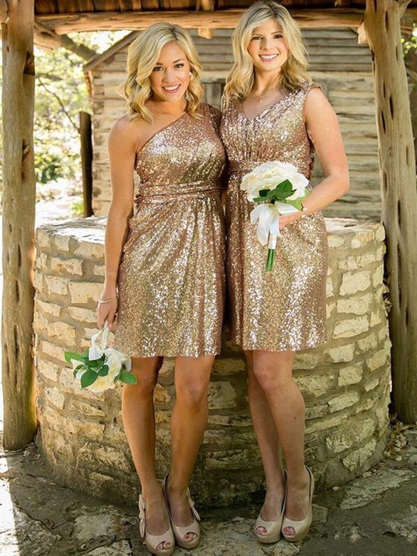 Sheath/Column Sequins Short Bridesmaid Dress