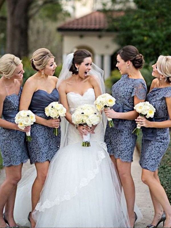 Sheath/Column Lace Short Bridesmaid Dress