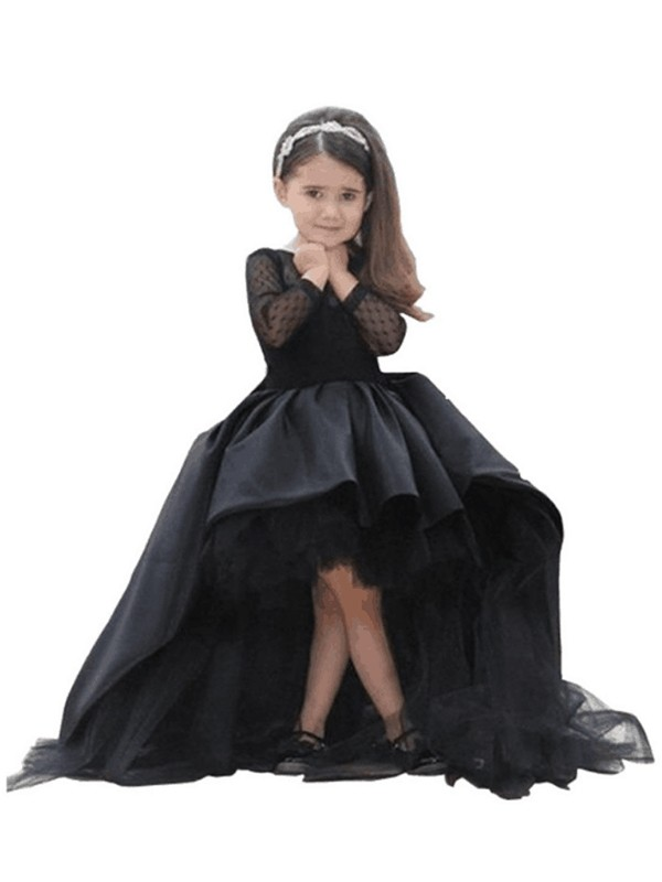 Ball Gown Scoop Long Sleeves Long Satin Flower Girl Dress