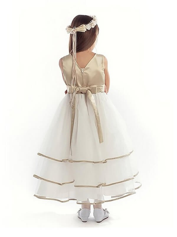 A-Line/Princess V-neck Tulle Ankle-length Flower Girl Dress