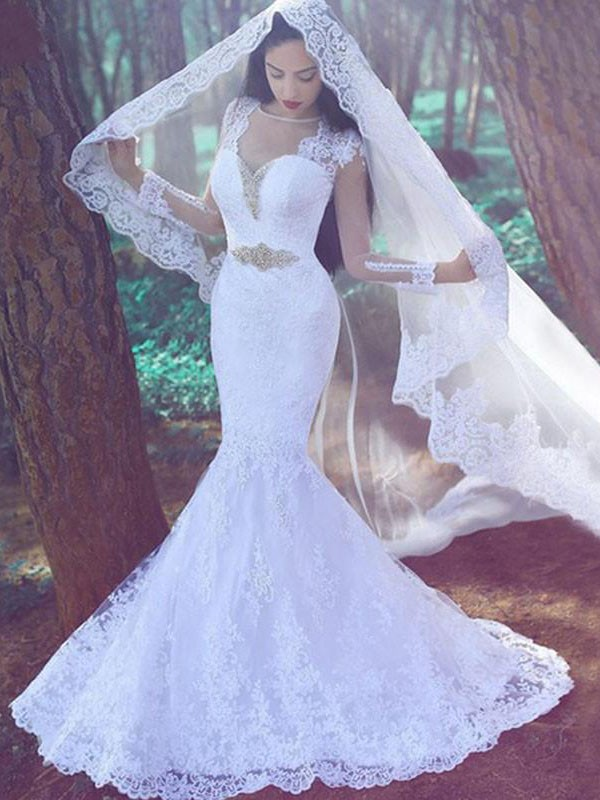 Mermaid Sweetheart Long Sleeves Lace Long Wedding Dress