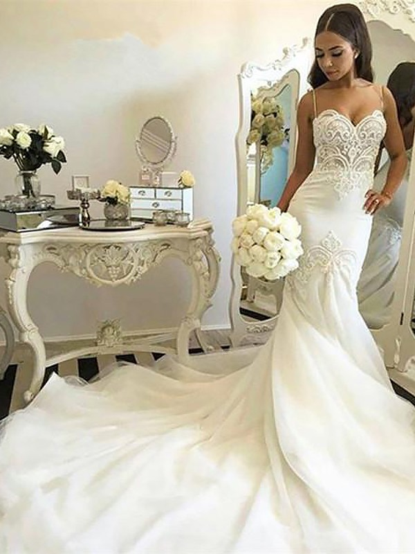 Mermaid Spaghetti Straps Long Tulle Wedding Dress