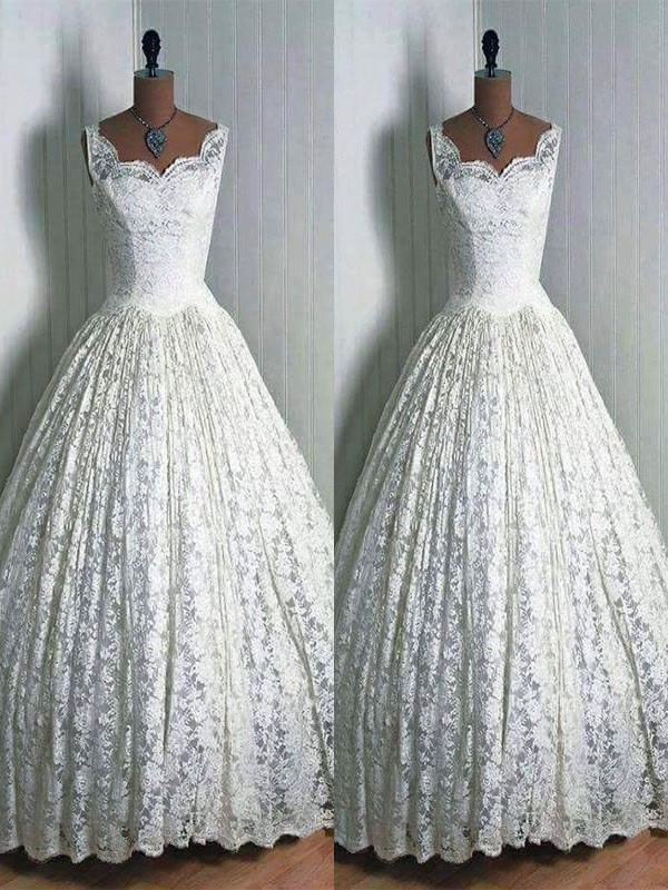 Ball Gown Lace Sweetheart Long Wedding Dress