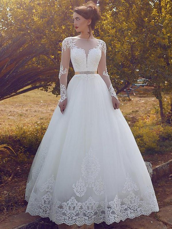Ball Gown Bateau Tulle Long Sleeves Long Wedding Dress