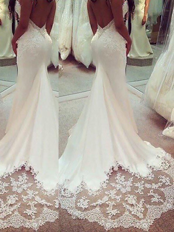 Mermaid Satin Spaghetti Straps Long Wedding Dress