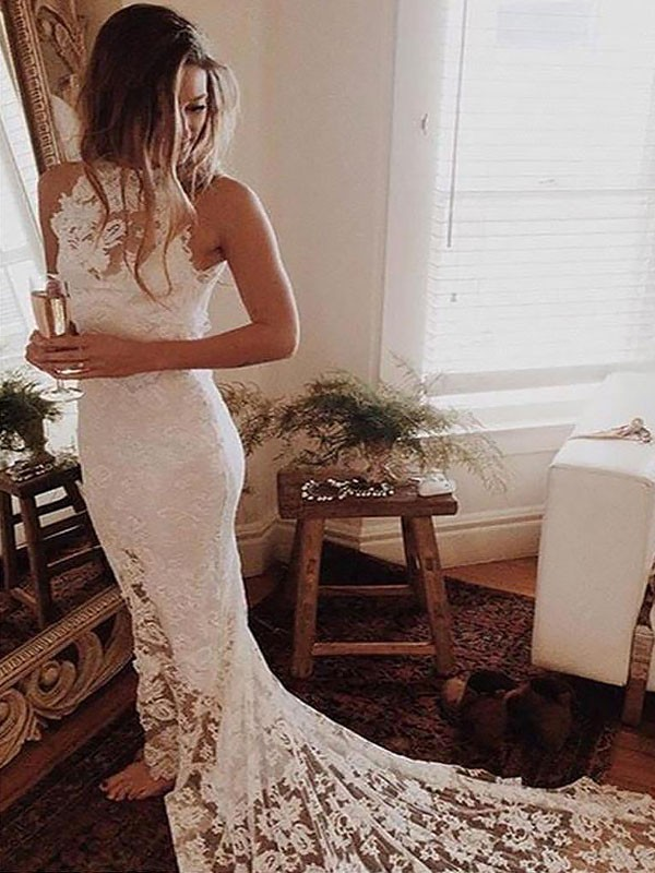 Mermaid Halter Lace Long Wedding Dress