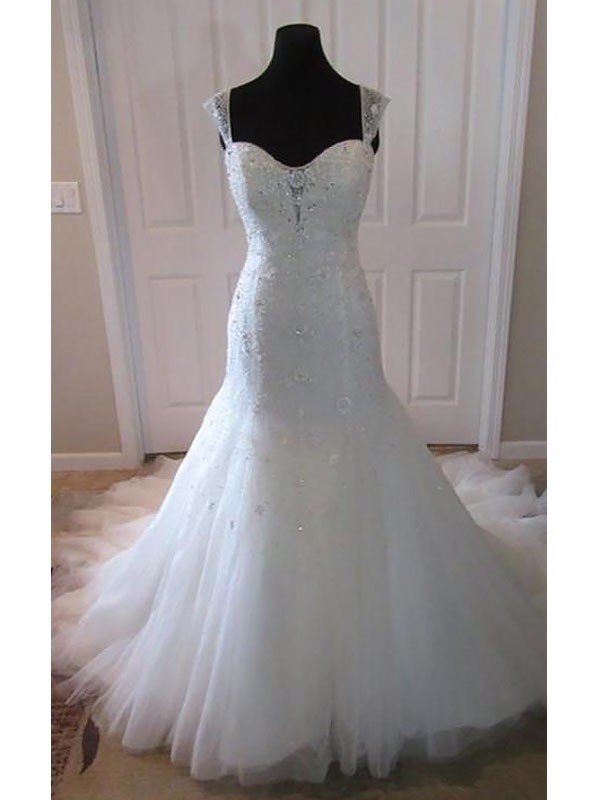 Mermaid Tulle Long Straps Wedding Dress