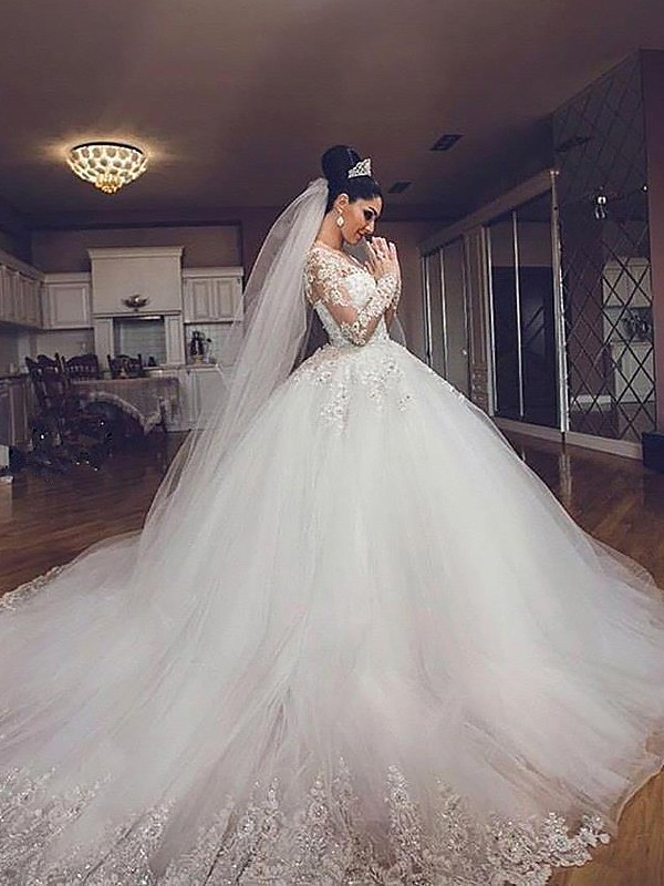 Ball Gown Long Sleeves Tulle V-neck Long Wedding Dress