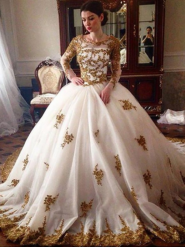 Ball Gown Long Scoop Long Sleeves Tulle Wedding Dress