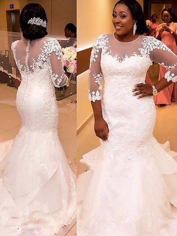 Mermaid Tulle 3/4 Sleeves Lace Long Wedding Dress