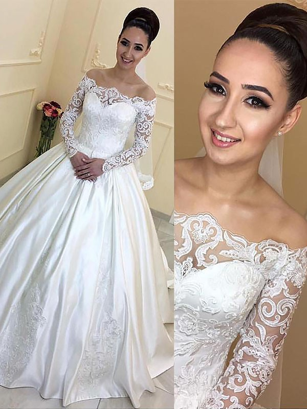Ball Gown Long Sleeves Off-the-Shoulder Satin Long Wedding Dress