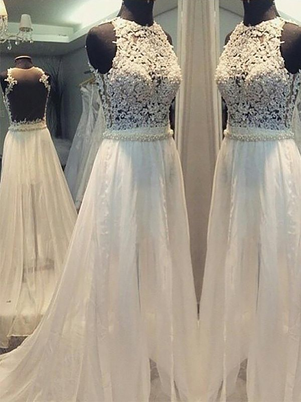 A-Line/Princess Long Chiffon Scoop Wedding Dress