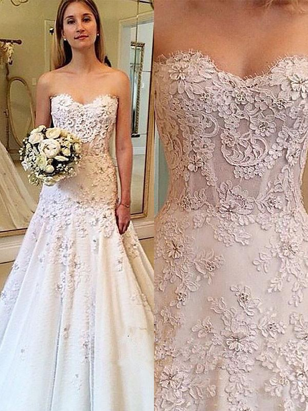 A-Line/Princess Sweetheart Lace Long Wedding Dress