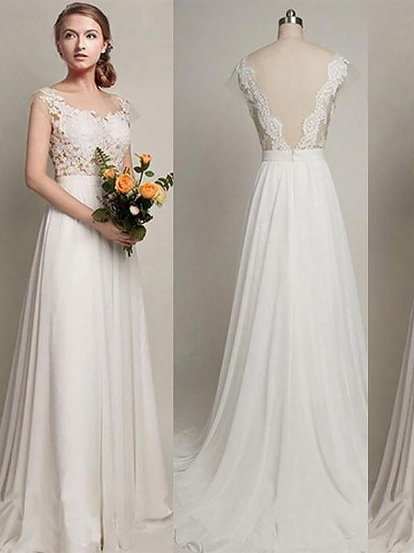 A-Line/Princess Chiffon Scoop Long Wedding Dress