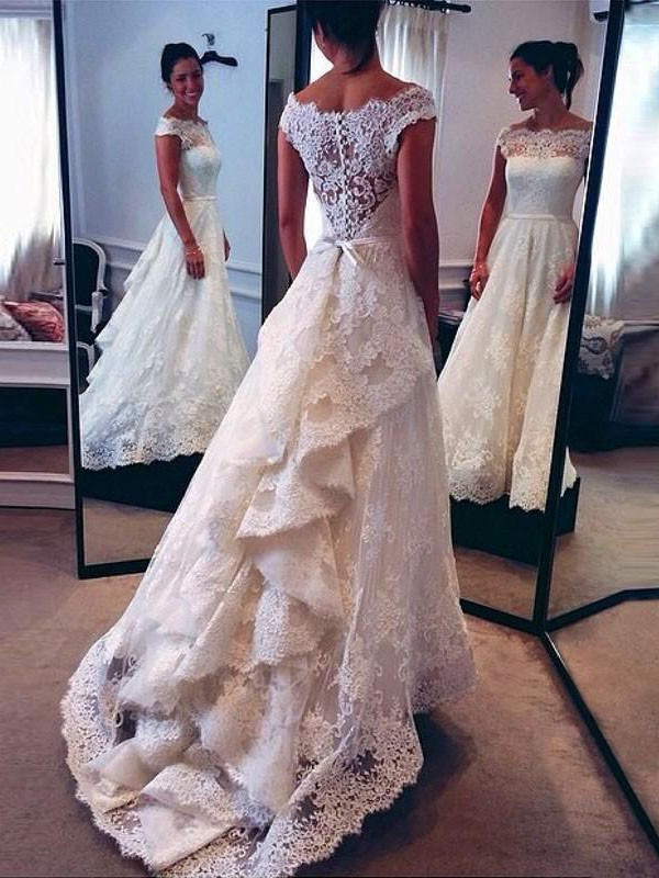 A-Line/Princess Scoop Lace Long Wedding Dress