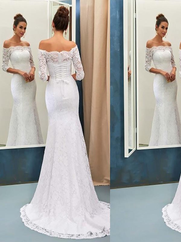 Mermaid Off-the-Shoulder Long Lace Long Sleeves Wedding Dress