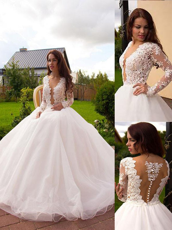 Ball Gown V-neck Tulle Long Sleeves Long Wedding Dress