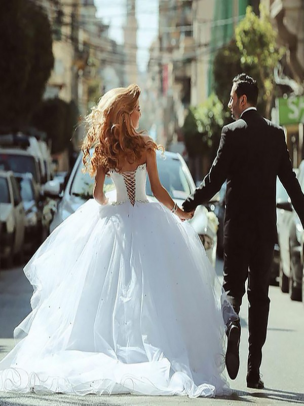 Ball Gown Long Sweetheart Tulle Wedding Dress