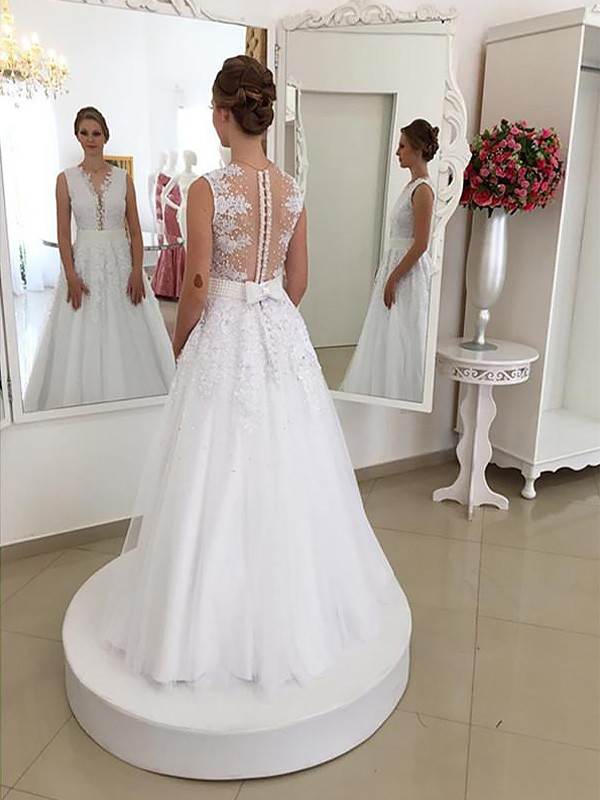 Mermaid Lace Scoop Long Wedding Dress