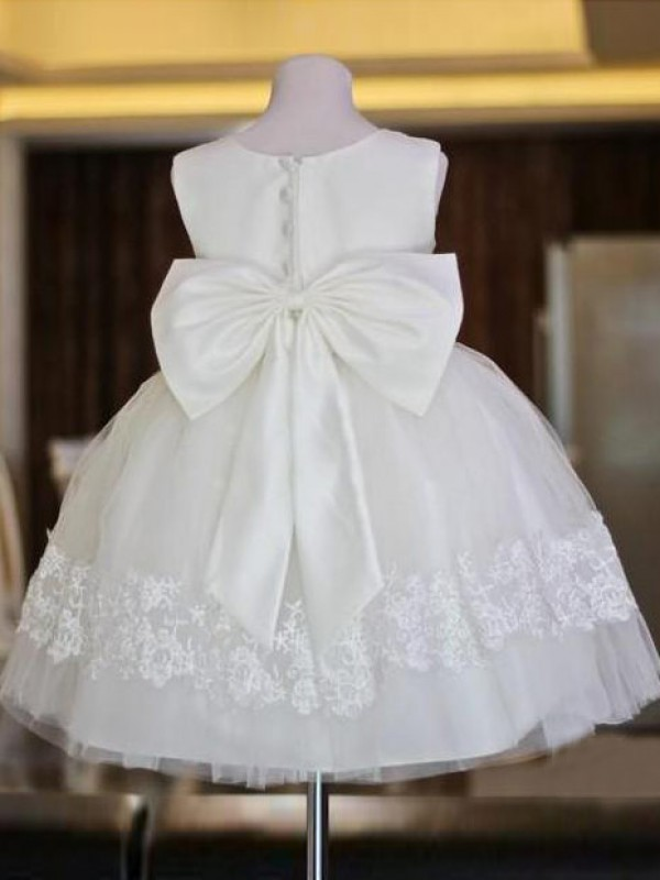 A-Line/Princess Scoop Lace Long Organza Flower Girl Dress