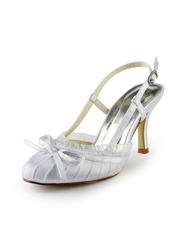 New Satin Stiletto Heel Sandals Closed Toe Buckle Wedding Shoes