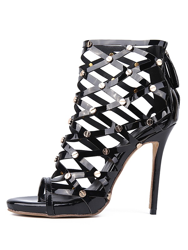 New Patent Leather Peep Toe Stiletto Heel Laser Rivet Platform Sandals Shoes