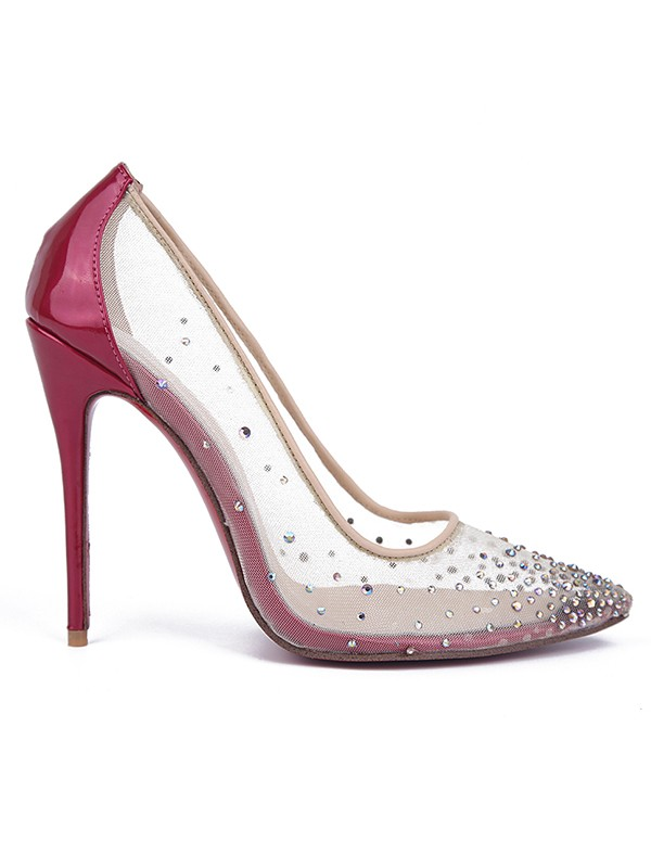 New Patent Leather Closed Toe Hot Drilling Stiletto High Heels