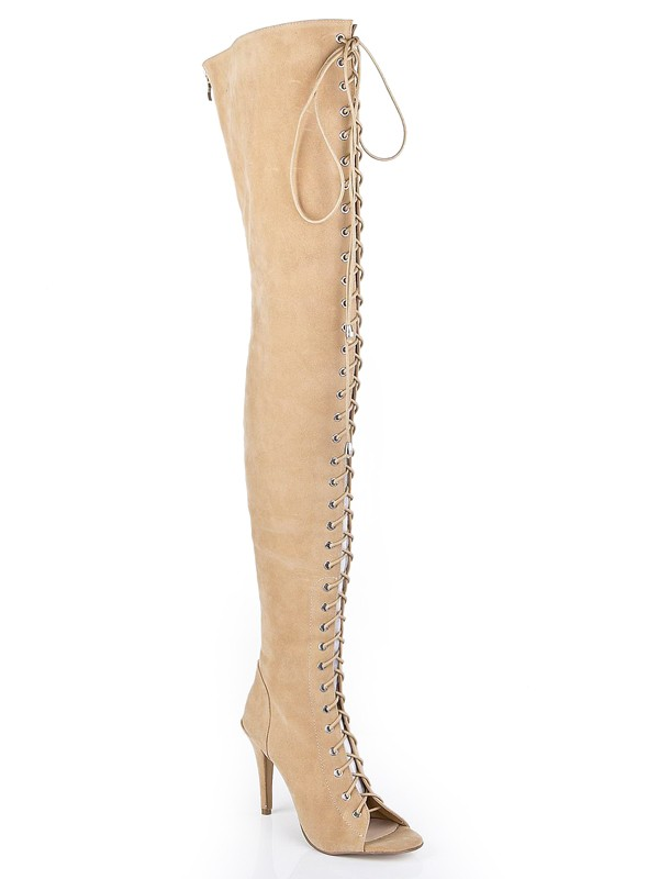 New Suede Stiletto Heel Peep Toe Lace-up Over The Knee Boots