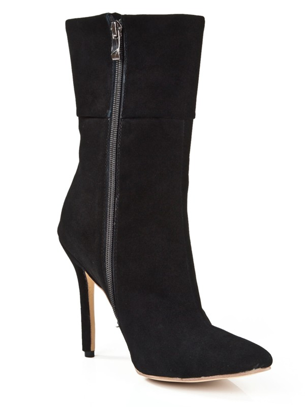 New Suede Stiletto Heel Closed Toe Zipper Mid-Calf Boots