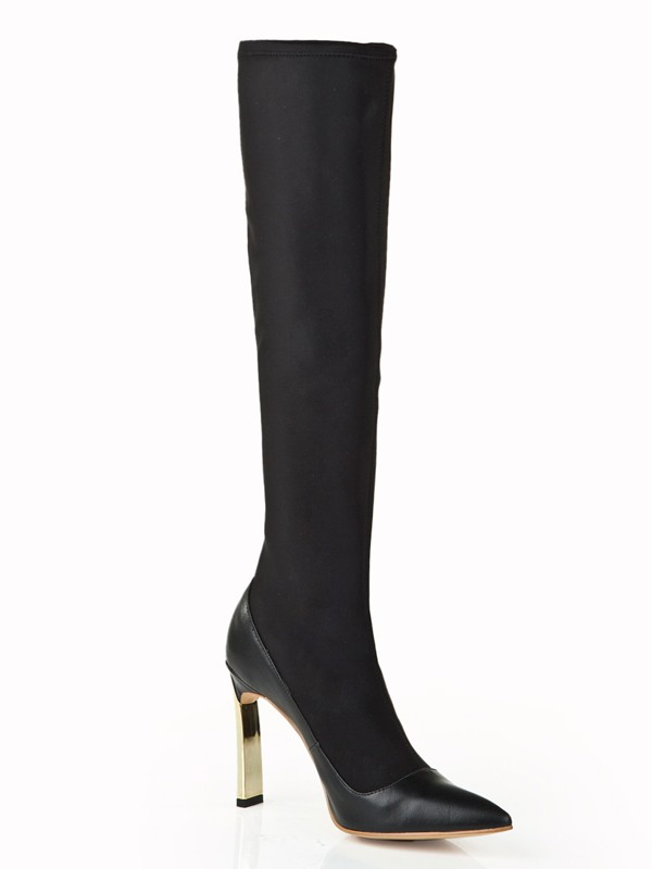 New Elastic Leather Stiletto Heel Knee High Boots