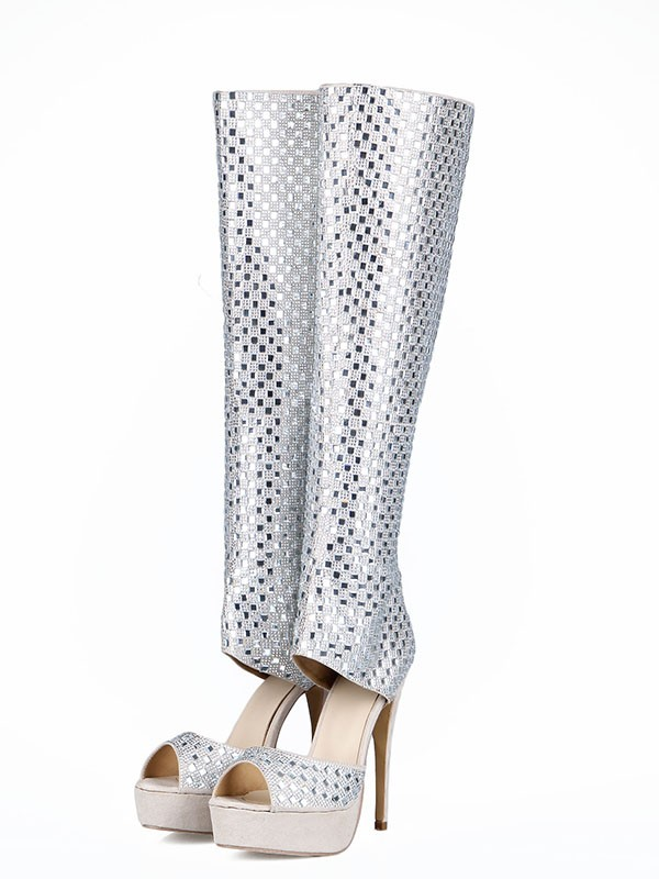 New Flock Peep Toe Stiletto Heel Rhinestones Boots