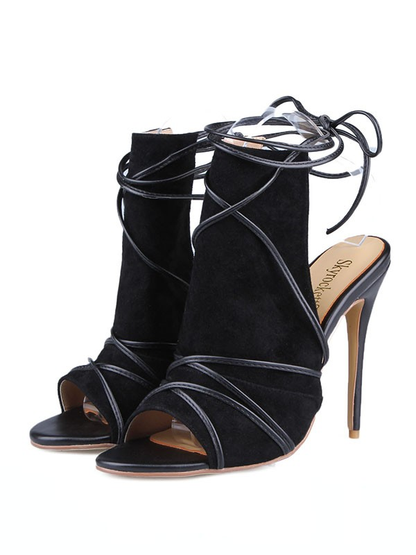 New Peep Toe Suede Stiletto Heel Buckle Sandals Shoes