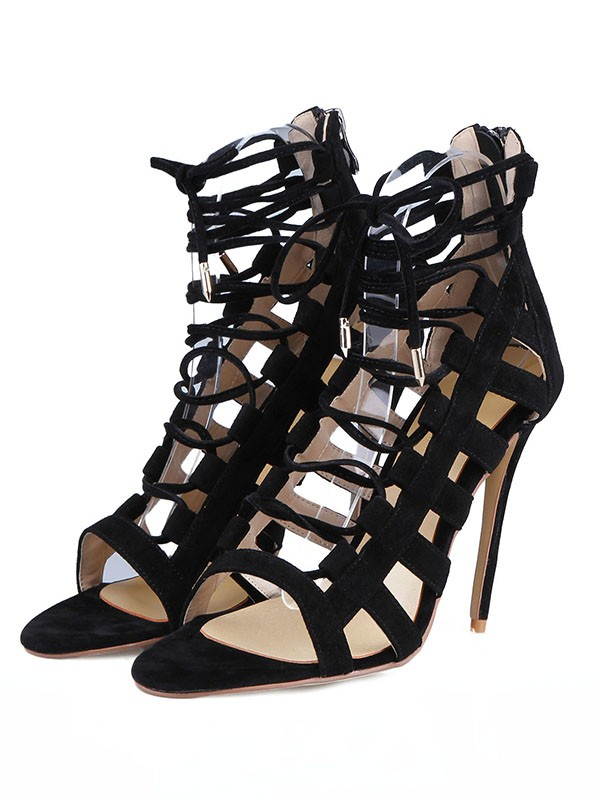 New Suede Stiletto Heel Peep Toe Buckle Sandals Shoes