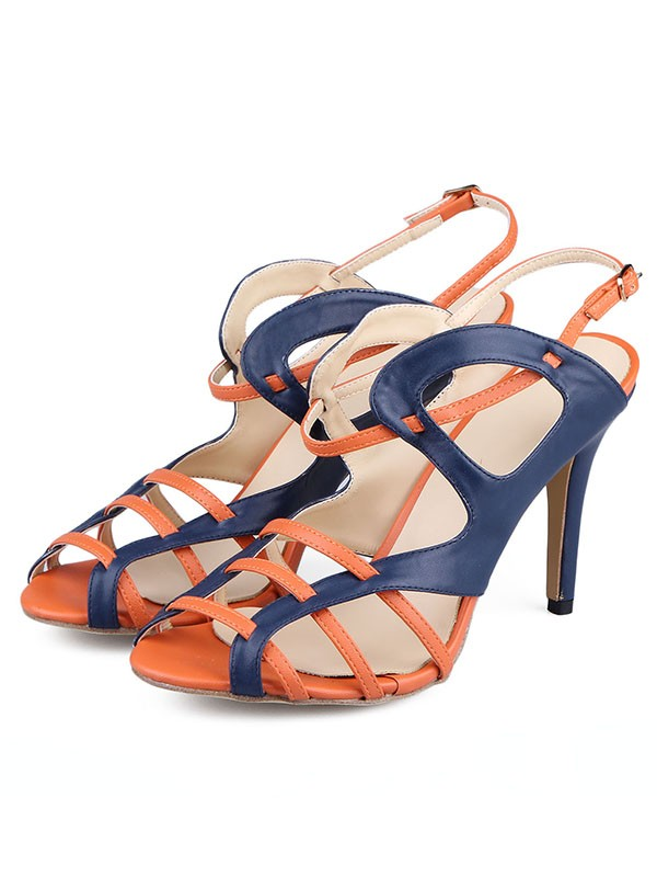 New PU Stiletto Heel Peep Toe Buckle Sandals Shoes