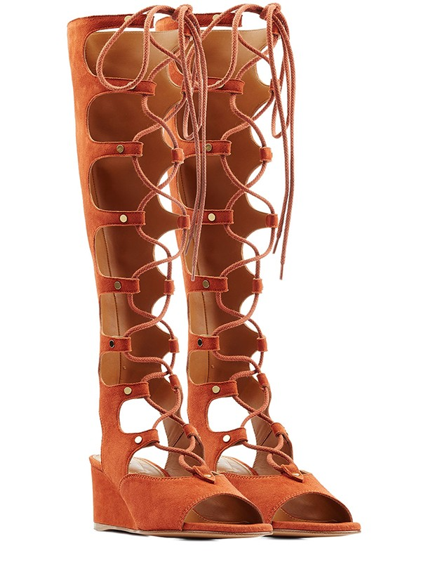 New Wedge Heel Peep Toe Suede Lace-up Sandal Knee High Boots