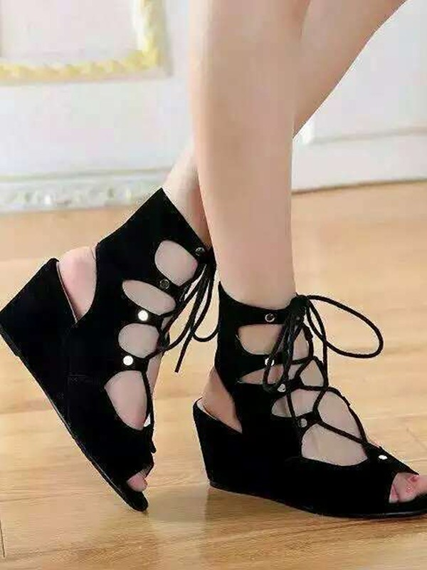 New Suede Wedge Heel Peep Toe Lace-up Sandal Ankle Boots