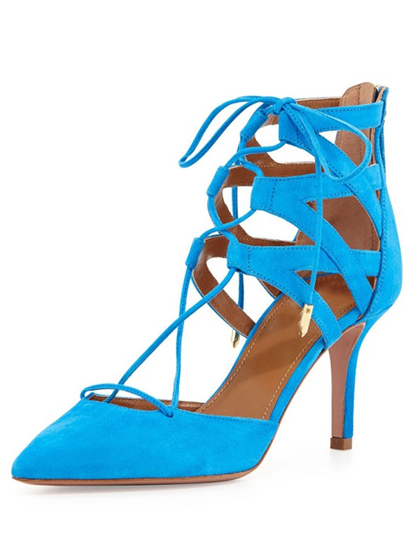 New Suede Stiletto Heel Closed Toe Lace-up Sandals Shoes