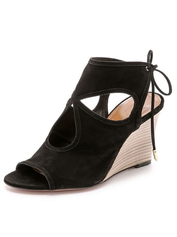New Wedge Heel Suede Peep Toe Lace-up Sandal Ankle Boots