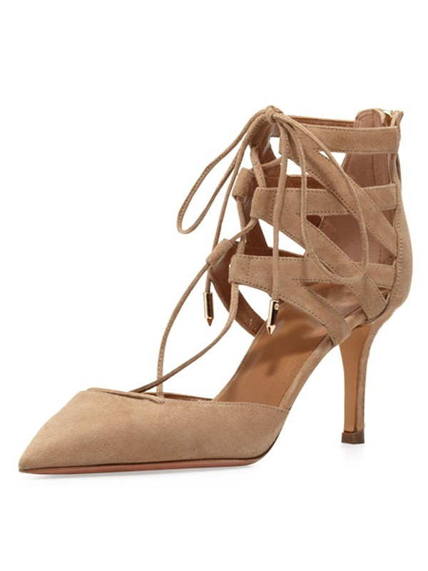 New Stiletto Heel Suede Closed Toe Lace-up Sandals Shoes