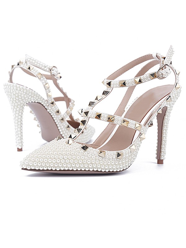 New Patent Leather Stiletto Heel Closed Toe Rivet Sandals Shoes